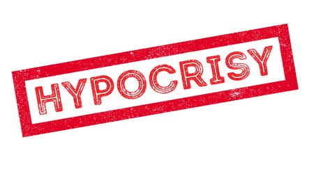 hipocresía: La hipocresía, sello de goma en blanco. Imprimir, impresionar, sobreimpresión.