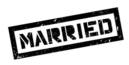 marital: Married rubber stamp on white. Print, impress, overprint. Illustration