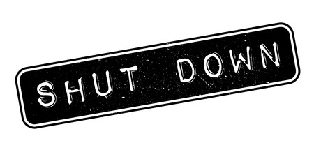 beginnings: Shut Down rubber stamp on white. Print, impress, overprint.