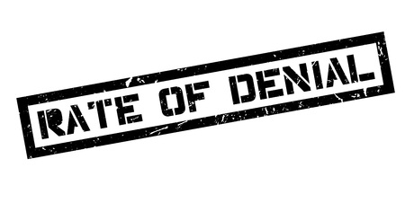 denial: Rate of Denial rubber stamp on white. Print, impress, overprint.