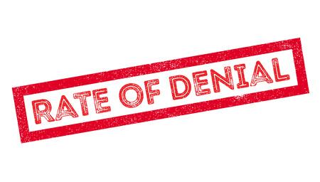denial: Rate of Denial rubber stamp on white. Print, impress, overprint.