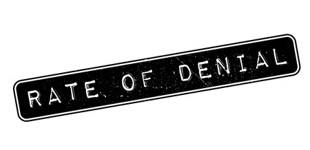 appraise: Rate of Denial rubber stamp on white. Print, impress, overprint.