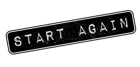 retry: Start Again rubber stamp on white. Print, impress, overprint. Illustration