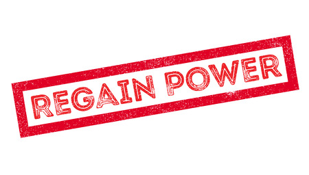 recovering: Regain Power rubber stamp on white. Print, impress, overprint.