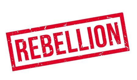 Rebellion rubber stamp on white. Print, impress, overprint.
