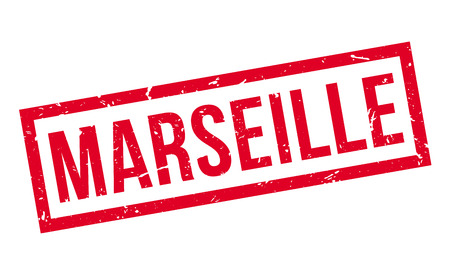 french culture: Marseille rubber stamp on white. Print, impress, overprint.