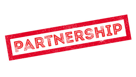 teaming up: Partnership rubber stamp on white. Print, impress, overprint. Illustration