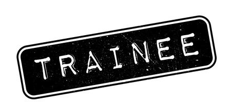 trainee: Trainee rubber stamp on white. Print, impress, overprint.
