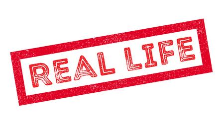 legitimate: Real Life rubber stamp on white. Print, impress, overprint.