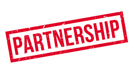 affiliation: Partnership rubber stamp on white. Print, impress, overprint. Illustration