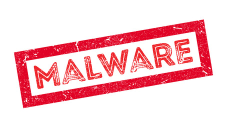hacked: Malware rubber stamp on white. Print, impress, overprint.