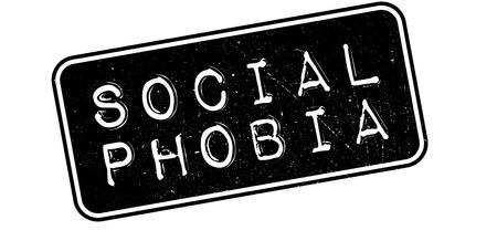 shyness: Social Phobia rubber stamp on white. Print, impress, overprint. Illustration