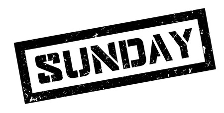 purely: Sunday rubber stamp on white. Print, impress, overprint.