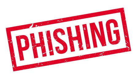 fraudulent: Phishing rubber stamp on white. Print, impress, overprint.