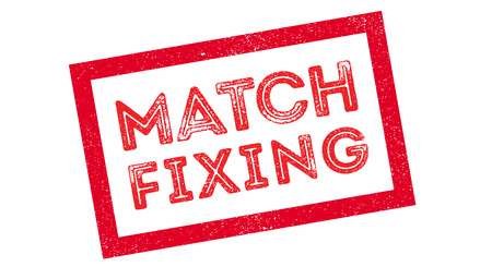 allegation: Match Fixing rubber stamp on white. Print, impress, overprint.
