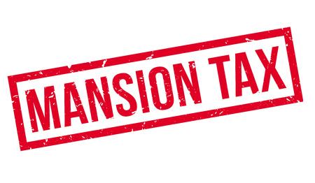 indirect: Mansion Tax rubber stamp on white. Print, impress, overprint.