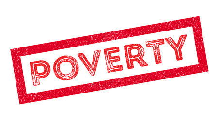 poverty: Poverty rubber stamp on white. Print, impress, overprint.
