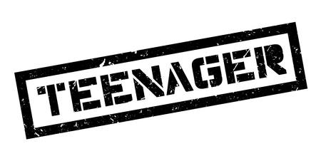 pubertad: sello de goma adolescente en blanco. Imprimir, impresionar, sobreimpresión. Vectores