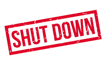 shut down: Shut Down rubber stamp on white. Print, impress, overprint.