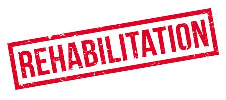 Rehabilitation rubber stamp on white. Print, impress, overprint.