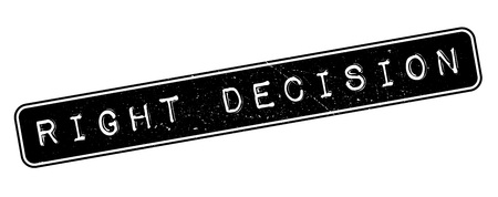 good judgment: Right Decision rubber stamp on white. Print, impress, overprint. Illustration
