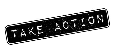 take action: Take Action rubber stamp on white. Print, impress, overprint.