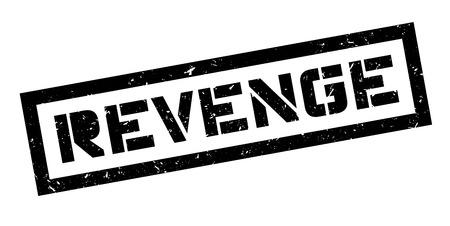 retaliation: Revenge rubber stamp on white. Print, impress, overprint. Illustration