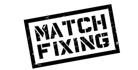 unethical: Match Fixing rubber stamp on white. Print, impress, overprint.