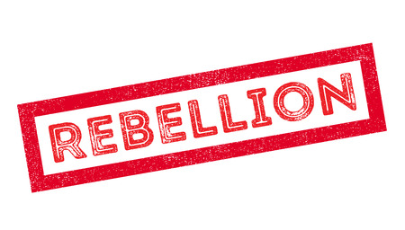 rebellion: Rebellion rubber stamp on white. Print, impress, overprint.