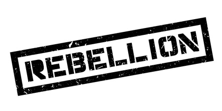 disobedience: Rebellion rubber stamp on white. Print, impress, overprint.