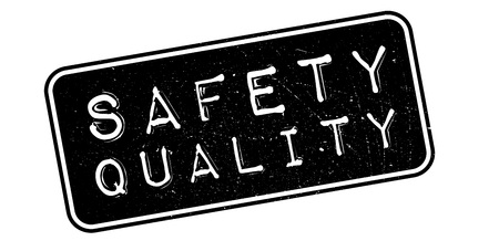 certainty: Safety Quality rubber stamp on white. Print, impress, overprint.