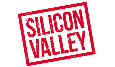 valley: Silicon Valley rubber stamp on white. Print, impress, overprint.