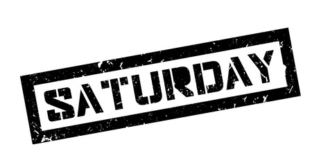 saturday: Saturday rubber stamp on white. Print, impress, overprint.