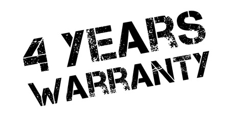 affirmation: 4 years warranty rubber stamp on white. Print, impress, overprint.