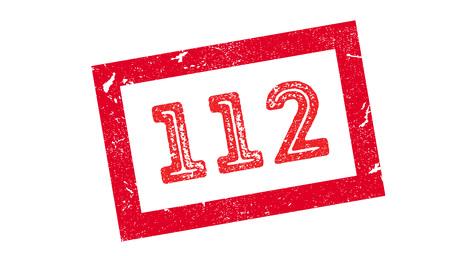 tel: 112 rubber stamp on white. Print, impress, overprint.