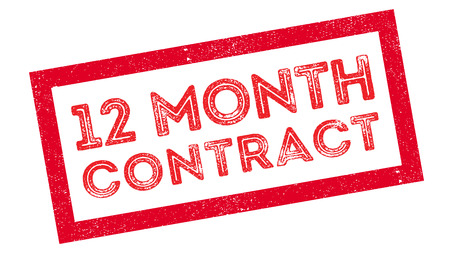 advertised: 12 month contract rubber stamp on white. Print, impress, overprint. Illustration