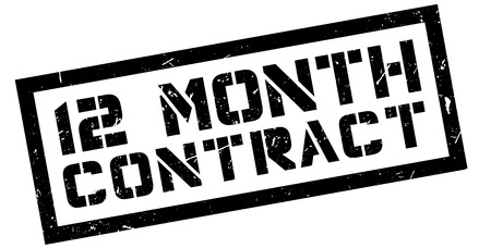 12: 12 month contract rubber stamp on white. Print, impress, overprint. Illustration