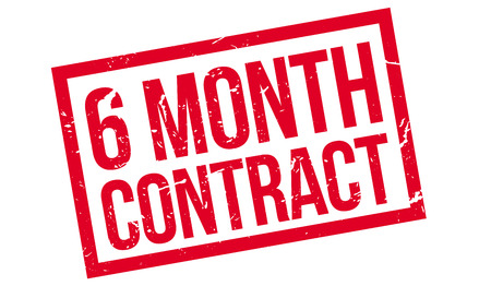 advertised: 6 month contract rubber stamp on white. Print, impress, overprint.