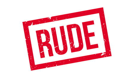 insulting: Rude rubber stamp on white. Print, impress, overprint.