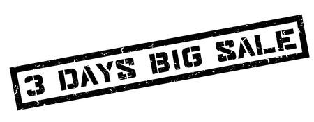 markdown: 3 days big sale rubber stamp on white. Print, impress, overprint.