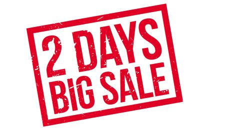 days: 2 days big sale rubber stamp on white. Print, impress, overprint. Illustration