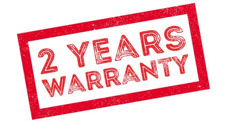 affirmation: 2 years warranty rubber stamp on white. Print, impress, overprint. Illustration