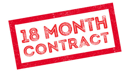 advertised: 18 month contract rubber stamp on white. Print, impress, overprint.