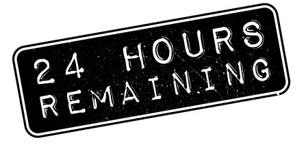 remaining: 24 hours remaining rubber stamp on white. Print, impress, overprint. Illustration