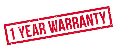 1 year warranty: 1 year warranty rubber stamp on white. Print, impress, overprint. Illustration