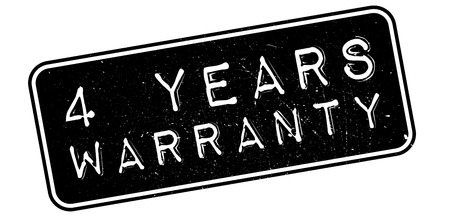 assertion: 4 years warranty rubber stamp on white. Print, impress, overprint.