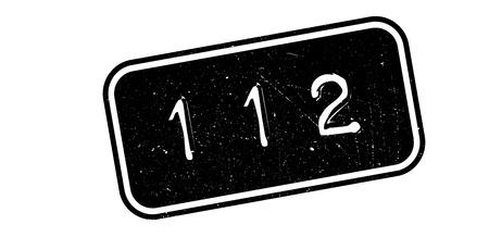 bad service: 112 rubber stamp on white. Print, impress, overprint.