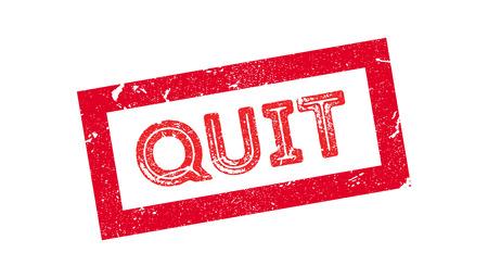 quit: Quit rubber stamp on white. Print, impress, overprint. Illustration