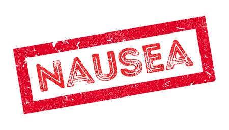nausea: Nausea rubber stamp on white. Print, impress, overprint. Illustration