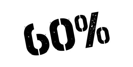 60: 60 percent rubber stamp on white. Print, impress, overprint. Illustration